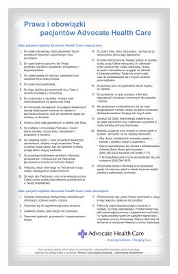 Prawa i obowiązki pacjentów Advocate Health Care