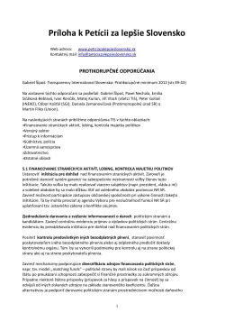 Príloha k Petícii za lepšie Slovensko