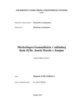Marketingová komunikácia na ZŠ JUDr. Josefa Mareše v