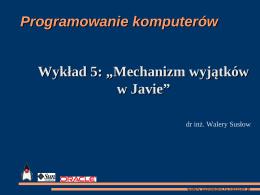 Mechanizm wyjątków w Javie