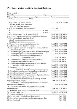 Przedoperacyjna ankieta anestezjologiczna