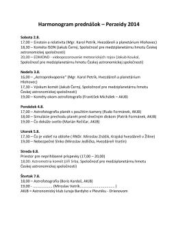Harmonogram prednášok – Perzeidy 2014
