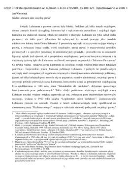 Jan Winczorek Niklas Luhmann jako socjolog prawa1 Związki