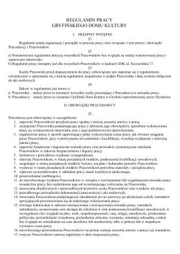 regulamin pracy gryfińskiego domu kultury