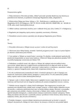 §1 Postanowienia ogólne 1. Sklep internetowy Drecotton.pl (dalej