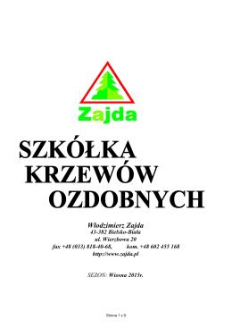 Oferta wiosna 2015r - Szkółka Krzewów Ozdobnych Włodzimierz