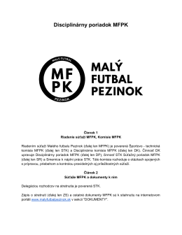 Súťažný poriadok - Malý futbal Pezinok