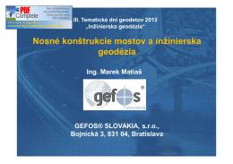 Nosné konštrukcie mostov a inžinierska geodézia