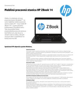 Mobilná pracovná stanica HP ZBook 14
