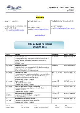 Plán podujatí na mesiac JANUÁR 2015