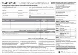 METODA PŁATNOŚCI Formularz Zamówienia Klienta Polska