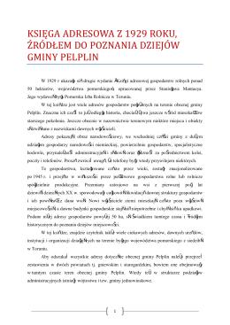 Ksiega adresowa źródłem do poznania dziejów gminy Pelplin