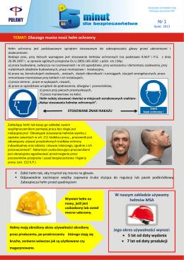 TEMAT: Dlaczego musisz nosić hełm ochronny W naszym zakładzie