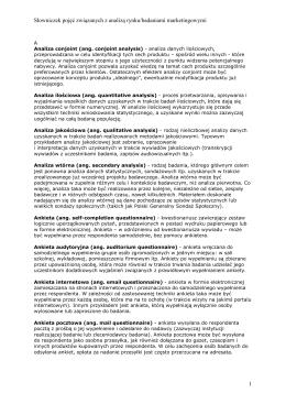 Słowniczek pojęć związanych z analizą rynku/badaniami