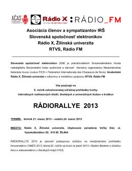 RÁDIORALLYE 2013 - Slovenská Spoločnosť Elektronikov