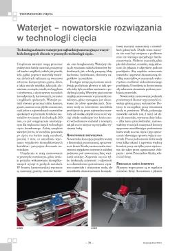 Waterjet – nowatorskie rozwiązania w technologii cięcia