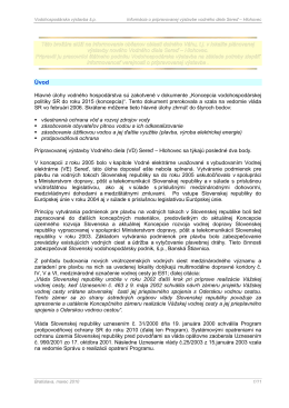Informácia o pripravovanej výstavbe VODNÉHO DIELA Sereď