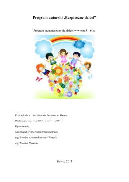 """Program autorski """"Bezpieczne dzieci"""""""