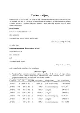 Zmluva o nájme - Obec Jesenské