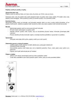 /CZ/ Xavax pojistný ventil obj. č. 110881 Pojistný ventil pro pračky a