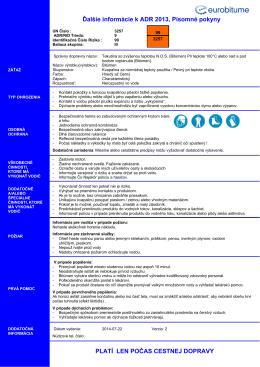 Ďalšie informácie k ADR 2013, Písomné pokyny PLATÍ
