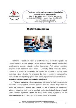 Motivácia žiaka - CPPPaP Námestovo