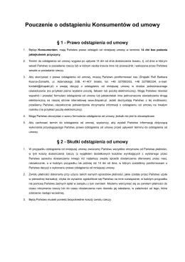 Pouczenie o odstąpieniu Konsumentów od umowy
