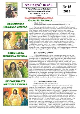 Nr 15 2012 - Parafia św Szczepana Brynica