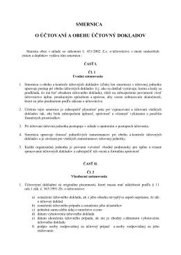 smernica o účtovaní a obehu účtovný dokladov