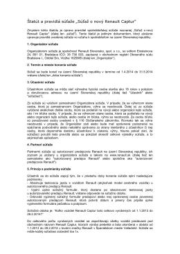 """Statut a pravidla soutěže """"Objevte Dacia Lodgy a vyhrajte"""
