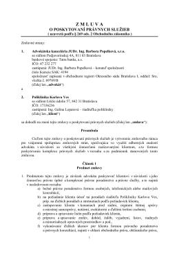 zml. o poskyt. právnych sl.