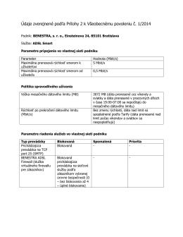 Parametre pripojenia do internetu BENESTRA