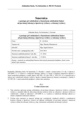 Smernica Š - 22/2014 o postupe pri oslobodení a čiastočnom