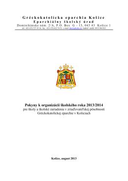 Pokyny k organizácii školského roka 2013/2014
