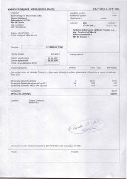 Zuzana Orságová - Ekonomické služby Číslo účtu: I