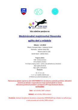 Medzinárodné majstrovstvá Slovenska agility detí a mládeže