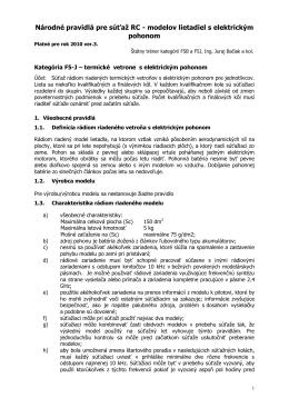 Národné pravidlá pre súťaž RC - modelov lietadiel s