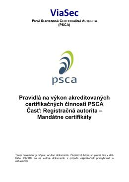 Registračná autorita - Mandátne certifikáty