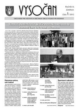 Vysočan, rok 2012, 1. číslo