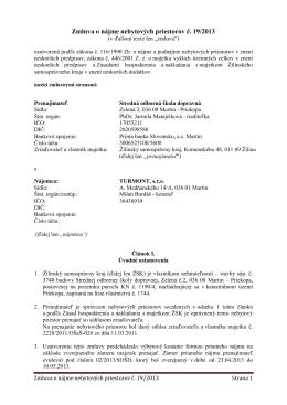(31.05.2013) Zmluva o nájme nebytových priestorov medzi SOŠD