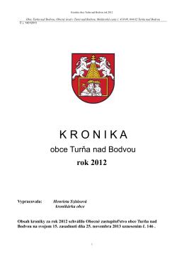 Kronika obce Turňa nad Bodvou rok 2012