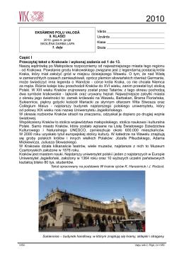 Część I Przeczytaj tekst o Krakowie i wykonaj zadania od 1
