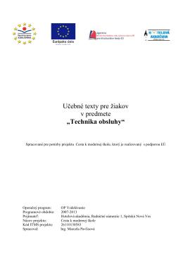 Technika obsluhy - Hotelová akadémia Spišská Nová Ves