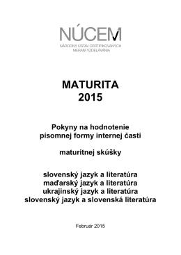 Maturita 2015/Pokyny na hodnotenie PFIČ MS