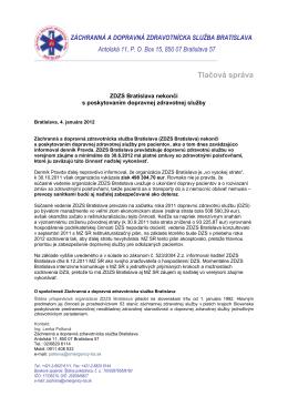 Tlačová správa - Záchranná zdravotná služba Bratislava