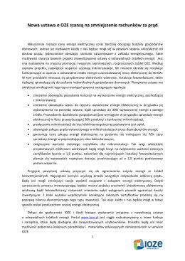 Nowa ustawa o OZE szansą na zmniejszenie rachunków
