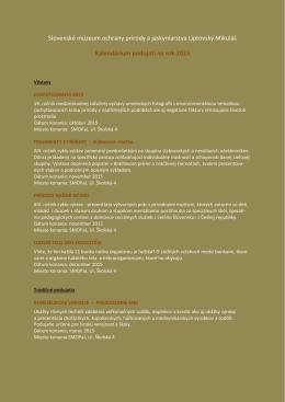 Kalendárium 2015 - Slovenské múzeum ochrany prírody a