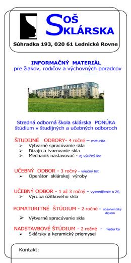 Informačný leták Strednej odbornej školy sklárskej (.pdf)