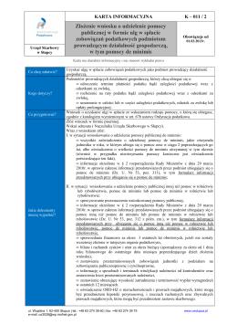 K - 011 / 2 Złożenie wniosku o udzielenie pomocy