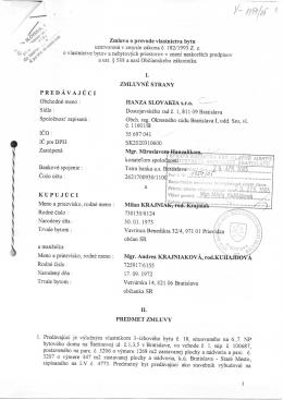 Zmluva o prevode bytu medzi HANZA SLOVAKIA, s.r.o. a Milan
